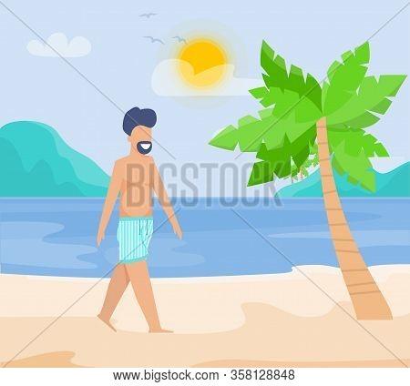 Happy Smiling Bearded Man Walking Along On Tropical Sandy Beach Wait Soul Mate. Cartoon Male Charact
