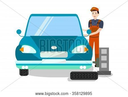 Tire Fitting Expert At Work Flat Illustration. Tyre Replacement Service. Mechanic, Technician, Engin