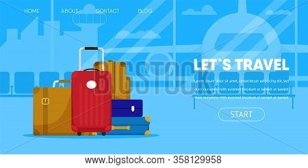 Lets Travel Concept. Suitcase Bag Tourist Baggage Passenger Lugagge In Airport Terminal Window Airpl