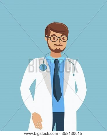 Therapist, Physician, Doctor Flat Vector Character. Confident Practitioner Wearing White Coat And Gl