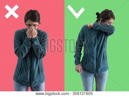 Comparison Between Wrong And Right Way To Sneeze To Prevent Virus Infection. Caucasian Woman Isolate
