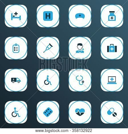 Drug Icons Colored Set With Equipment, Medicament, Remedy And Other Pellet Elements. Isolated Vector