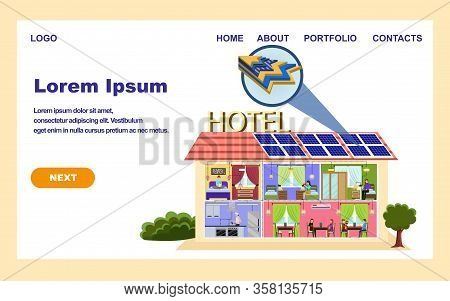 Solar Batteries Installation Business Company Banner. Hotel Building With Solar Panels On Roof Vecto
