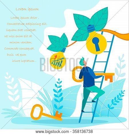 Advertising Banner, Persistent Selection Key Idea. Guy Is Standing On Stairs And Holding Big Key. Ma