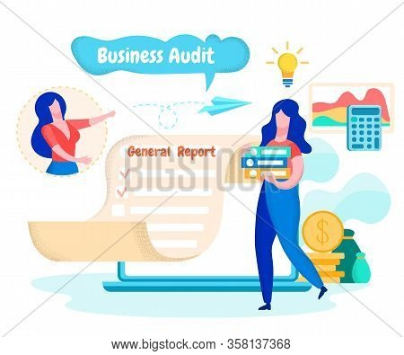 Woman With Folders. Send General Report By Email. Financial Audit. Send General Report. Workers Team