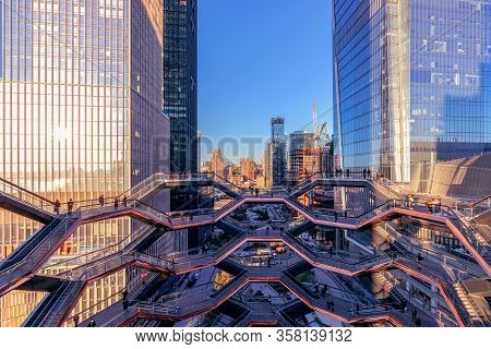 New York, Ny/usa - November 06, 2019: Beautiful View Of The Vessel (hudson Yards Staircase) During A