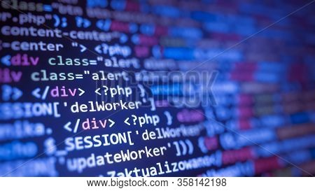 Software Development By Programmer. Abstract Computer Script Code. Programming Code Screen Of Softwa