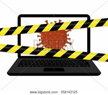 Virus Inside The Laptop With Warning Tape Internet Crime Vector Illustration Eps10