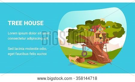 Treehouse Banner. Cartoon Boy And Pet Dog Build House On Tree Vector Illustration. Game Playhouse In