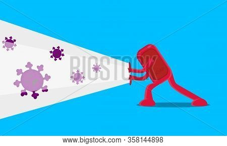 Vector Illustration Of Character Of Antiseptic Soap Solid Destroying Against Viruses, Germs And Bact