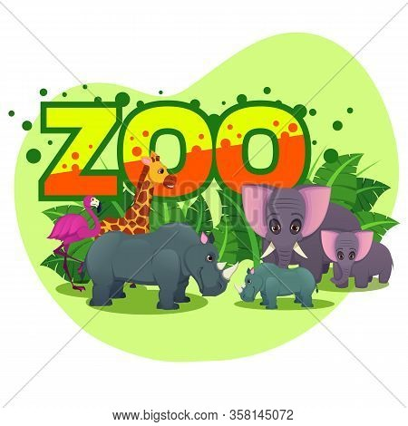 African Animals Walking Around Huge Word Zoo On Nature Background, Rhinoceros And Elepfant With Baby