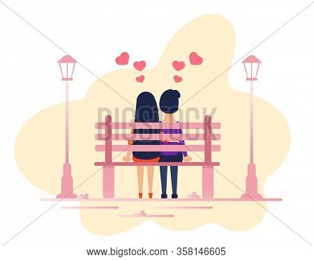 Cartoon Loving Couple Sitting Together On Park Bench. Man And Woman Enjoying First Dating. Guy And G