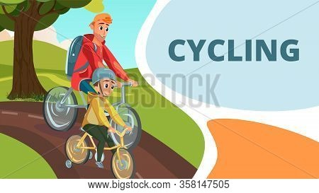 Cycling Family Sport. Cartoon Father Son Ride Bicycle In Park. Little Boy In Helmet On Training Whee
