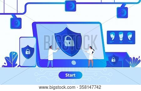Data Security, Digital Information And Privacy Protection Application Advertisement. Metaphor Webpag
