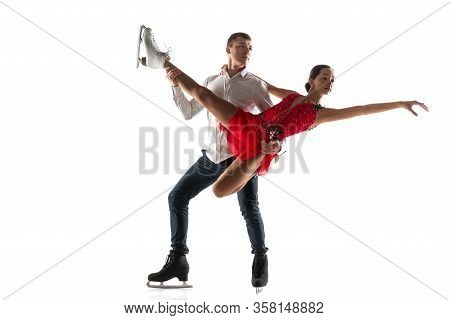Duo Figure Skating Isolated On White Studio Backgound With Copyspace. Two Sportsmen Practicing And T