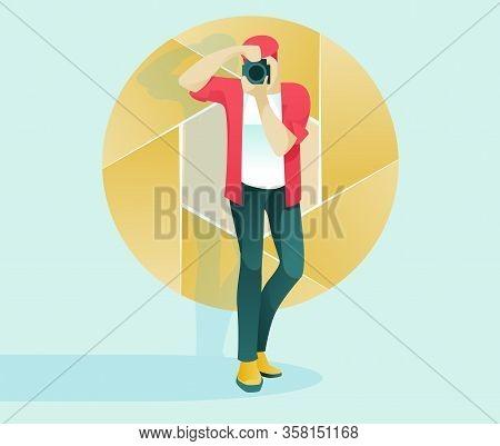 Cartoon Man Professional Photographer Character At Work. Paparazzi Shooting Studio Photo Using Digit