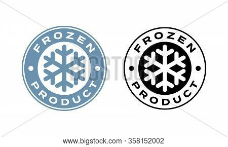 Frozen Product Vector Food Package Label. Fresh Frozen Product, Snowflake Icon