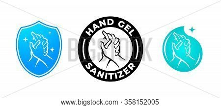 Hand Gel Sanitizer Vector Label With Water Drop, Shield And Hand Logo. Hand Sanitizer Icon For Healt