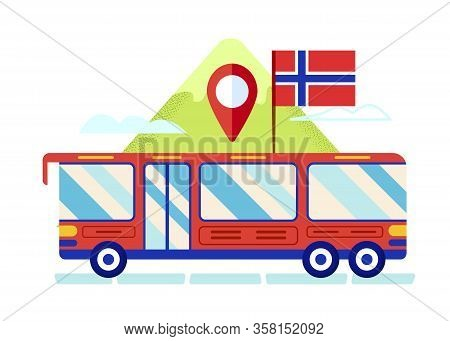 Red Tour Bus With Norway Flag On Roof Stand On Mountain Nature Landscape Background With Gps Mark. S