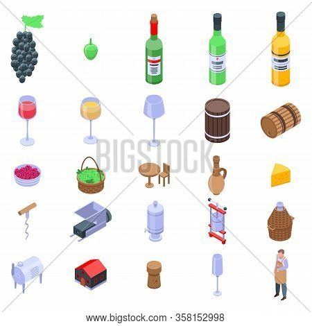 Winemaker Icons Set. Isometric Set Of Winemaker Vector Icons For Web Design Isolated On White Backgr