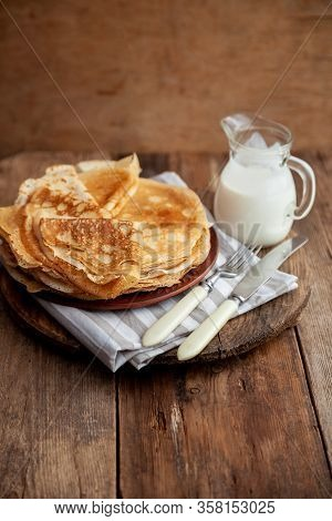 A Stack Of Thin Pancakes On A Plate. Homemade Pastries. Pancakes For Breakfast. Appetizing Food. Thi