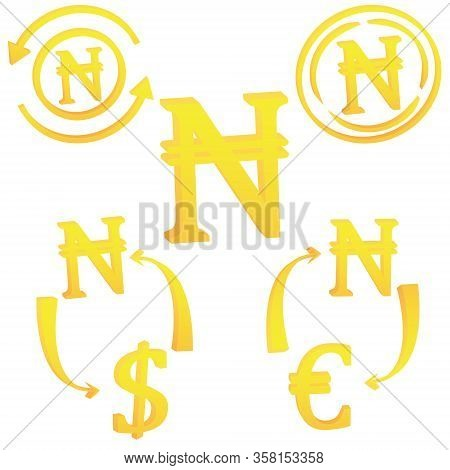 Nigerian Naira Currency Symbol Icon Of Nigeria Vector Illustration On A White Background
