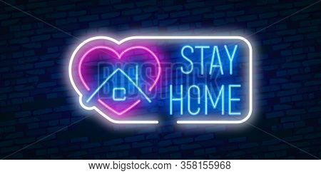 Stay At Home Slogan With House. Protection Campaign Or Measure From Coronavirus, Covid--19. Stay Hom