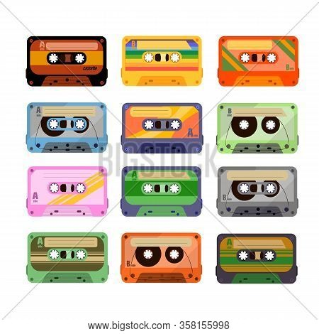Vintage Tape Cassette. Retro Mixtape, 1980s Pop Songs Tapes And Stereo Music Cassettes. 90s Hifi Dis