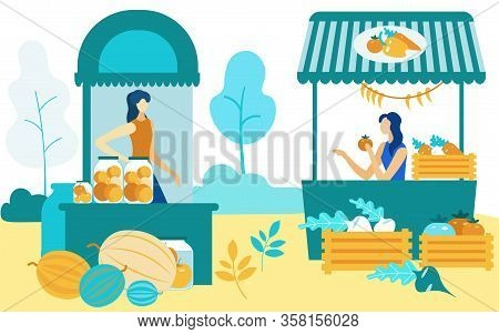 Women At Fair Sitting At Shelves. Sell Crops Farmers Market. Vector Illustration. Natural Products.