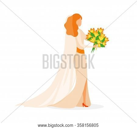 Young Bride, Marriage Ceremony Flat Illustration. Red Haired Woman Wearing Fashionable White Gown An