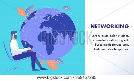 Worldwide Networking Flat Banner Vector Template. Company Man Sitting In Chair Cartoon Character. Bu