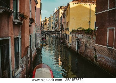 Close Up Water Channel In Venice, Italy