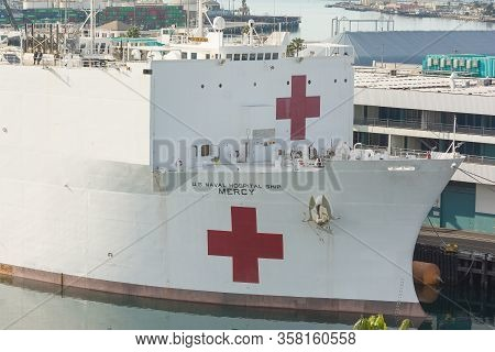 Hospital Ship Mercy Moored At The Port Of Los Angeles