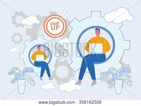 Businessmen Cartoon Character Working At Laptop On Startup Project. Business Initiative, Prosperity