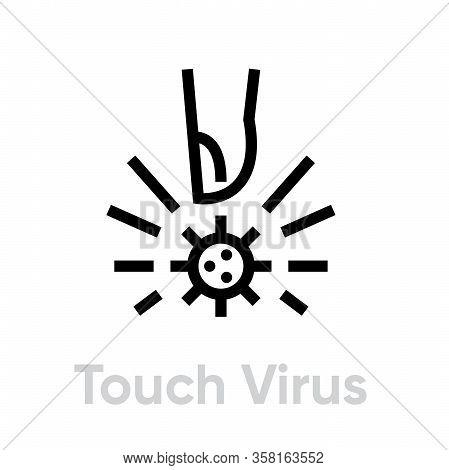 Finger Touching Virus Icon. Editable Line Vector.
