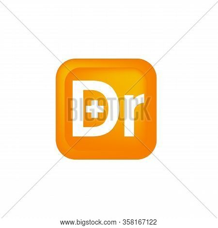 Modern Design Letter Dr With Graphic Plus On The White Background. Letter Dr Vector Design Template.