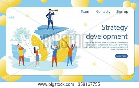 Flat Banner Inscription Strategy Development. Man In Business Suit Is Standing On Top Paper Airplane