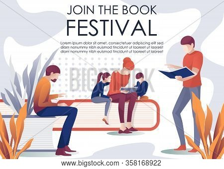 Join Book Festival Invitation Banner. Metaphor Library Design With Huge Paper Editorials And Cartoon