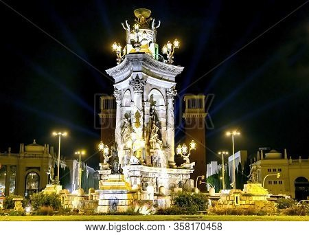 Spain, Barcelona, May, 2016 - Spain Square Fountain In The Evening Illumination.spain Square Is One