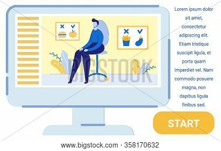 Patient Sitting On Chair And Listening About Healthy Lifestyle From Computer Screen Flat Cartoon Vec