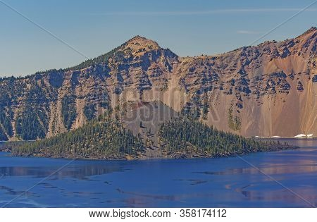 Wizard Island Volcano Within A Volcano Of Crater Lake In Crater Lake National Park In Oregon