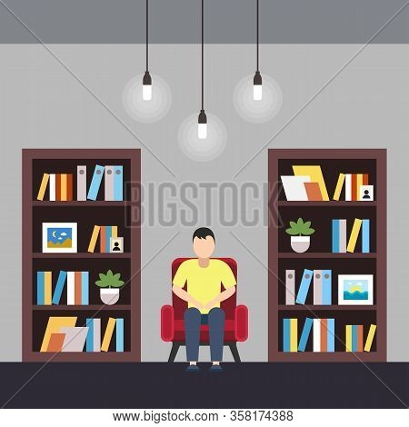 Vector Illustration Library Coworking Center. Separate Single Room With Shelving With Lamp. Dedicate