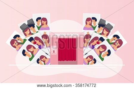 Variety Photos With Happy Couples From Booth Cabin. Kissing And Hugging Smiling Man And Woman In Lov