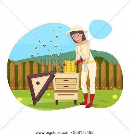 Protective Suit And Mask. Woman In Overalls And Mask Produces Honey. Bees Flying Near Hive. Beekeepe