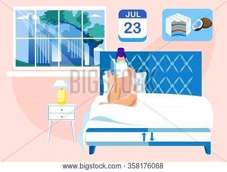 Woman In Bedroom, Reading Bedside Book Before Falling Asleep, Having Herbal Tea Or Warm Milk, Lying