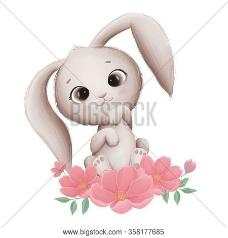 Little Cute Bunny With Spring Flowers On A White Background. Digital Illustration