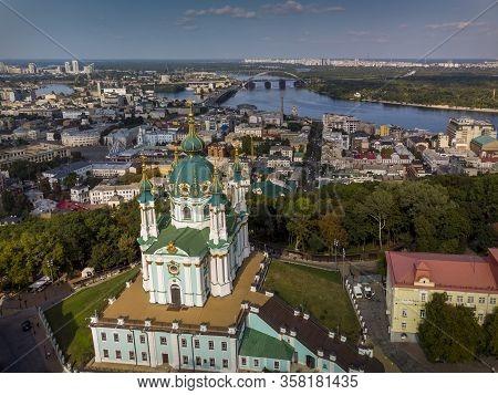 Beautiful Top View Of St. Andrew's Church, St. Andrew's Descent, Podil, Dnieper. Kiev. Ukraine.