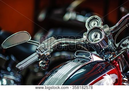 Classic Chrome . Motorcycle Handle. The Gas Lever On The Chopper. Speed Dialing. Details Of The Moto