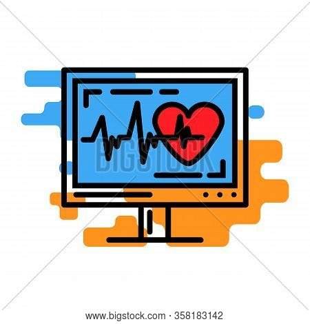 Cardiogram On A Monitor.ekg.health Care Research Medical Equipment Vector Illustration Isolated On A