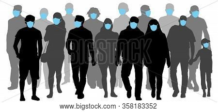 Group Of People Wearing Medical Masks To Prevent Disease Flu. Contaminated Air. Silhouette Vector Il